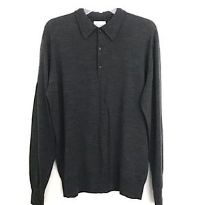 HARRODS LONDON Virgin Wool 3-Button Polo Sweater